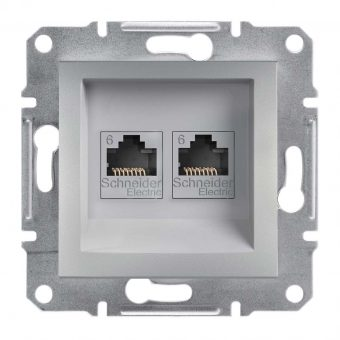 Розетка компьютерная 2-я RJ45 кат.6/UTP«Asfora», (цвет алюминий) Schneider Electric EPH4800161