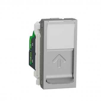 Розетка комп. 1-а., RJ45, кат.6 STP, 1-мод., Schneider Electric Unica New NU341630, Алюміній