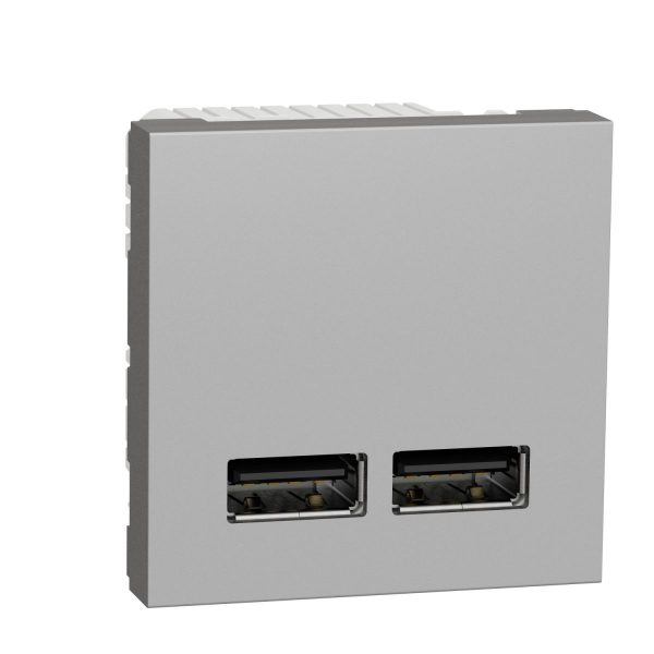 Розетка USB, 2-местная, 5 В / 2100 мА, Unica New Schneider Electric NU341830 алюминий